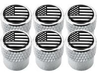 6 Ventilkappen USA Vereingite Staaten Amerika schwarz  chromfarbig gestreift