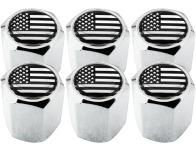 6 Ventilkappen USA Vereingite Staaten Amerika schwarz  chromfarbig Hexa