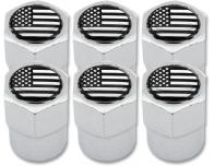 6 Ventilkappen USA Vereingite Staaten Amerika schwarz  chromfarbig Plastik
