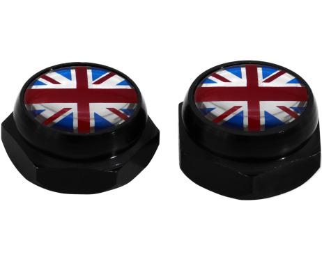 Cacherivets pour plaque dimmatriculation argent drapeau Angleterre RoyaumeUni Anglais Union Jack