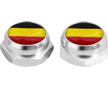Cacherivets pour plaque dimmatriculation drapeau Allemand Allemagne argent