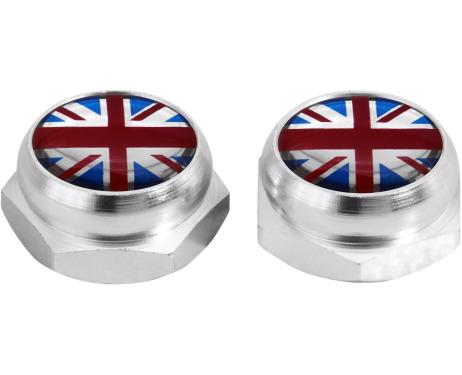 Cacherivets pour plaque dimmatriculation drapeau Angleterre RoyaumeUni Anglais argent