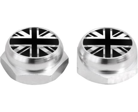 Cacherivets pour plaque dimmatriculation drapeau Angleterre RoyaumeUni Anglais noir noir  chro