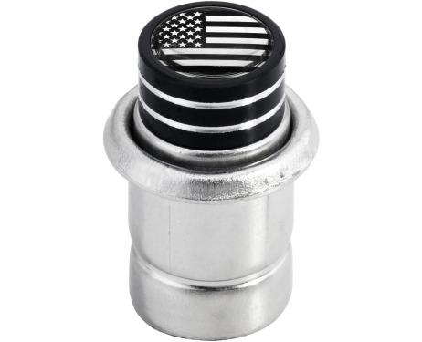 Cigarette lighter USA United States of America short black  chrome