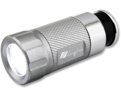 LEDTaschenlampe aufladbar am Zigarettenanzünder silbergrau