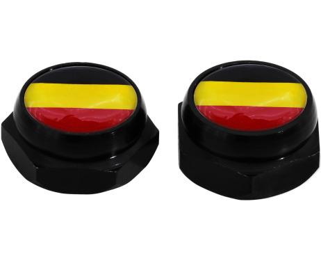 Nietenkappen für Nummernschilder Deutsche Deutschland Flagge schwarz