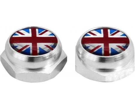 RivetCovers for Licence Plate English Flag UK England British Union Jack black