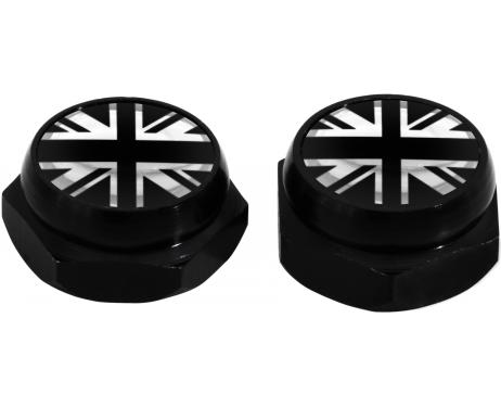 RivetCovers for Licence Plate English Flag UK England British Union Jack silver black  chrome
