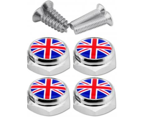 Set of 4 license plate screws English Flag UK England British Union Jack