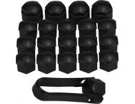 Wheel bolt caps 17mm antitheft black