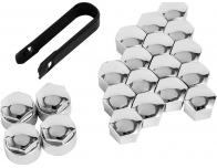 Wheel bolt caps antitheft 17mm chrome